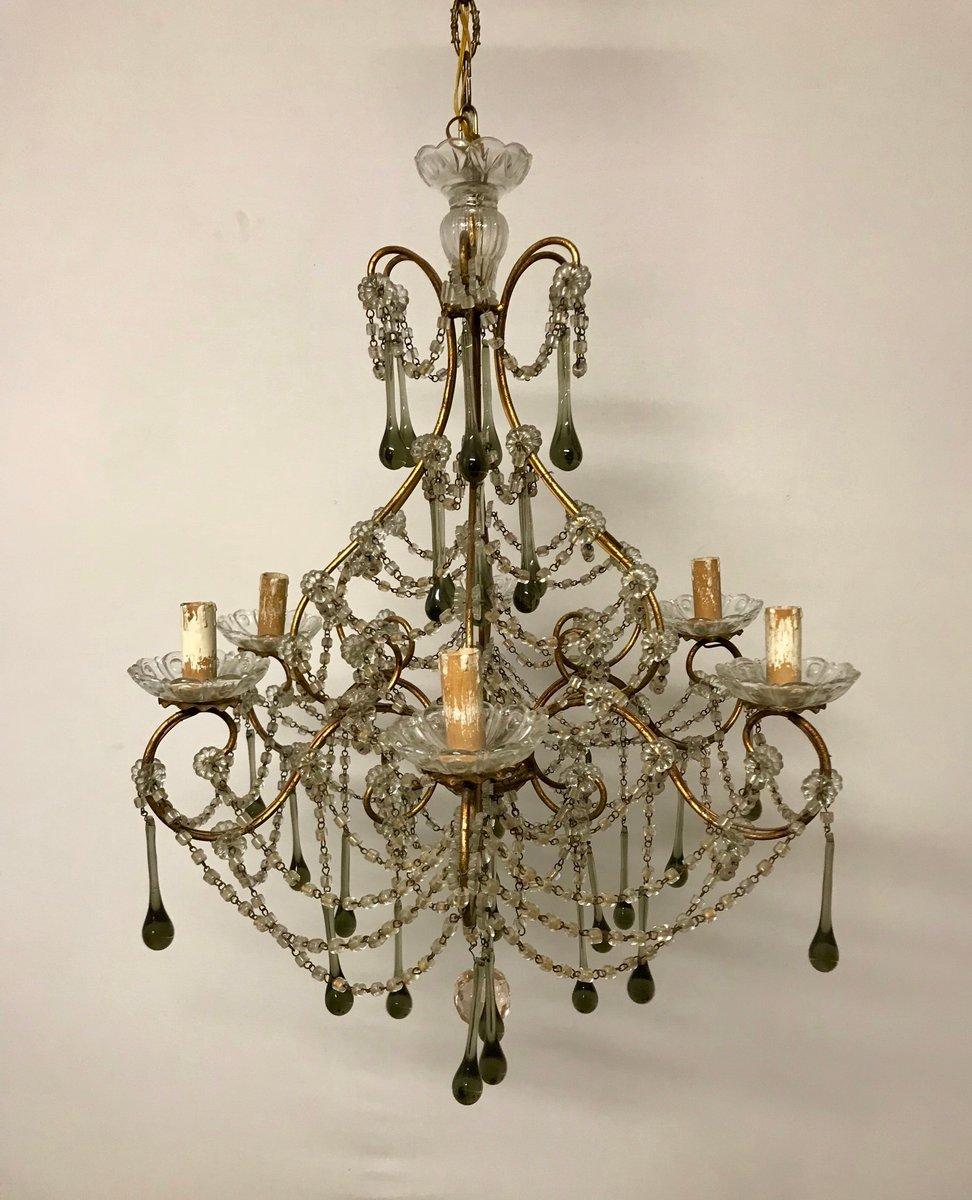 Murano Glass Chandelier Buy Online: Vintage Murano Glass & Crystal-Beaded Macaroni Chandelier
