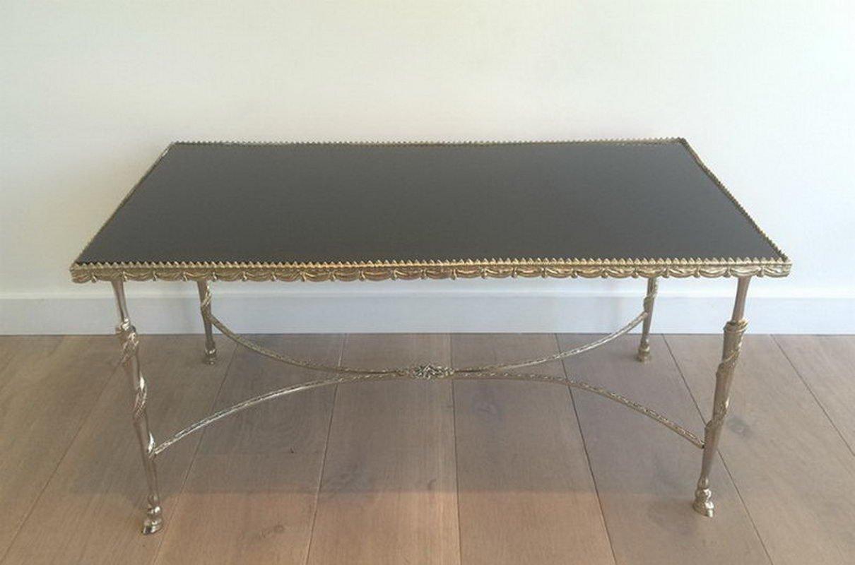 Tavolino da caffè in argento con ripiano in vetro laccato nero e