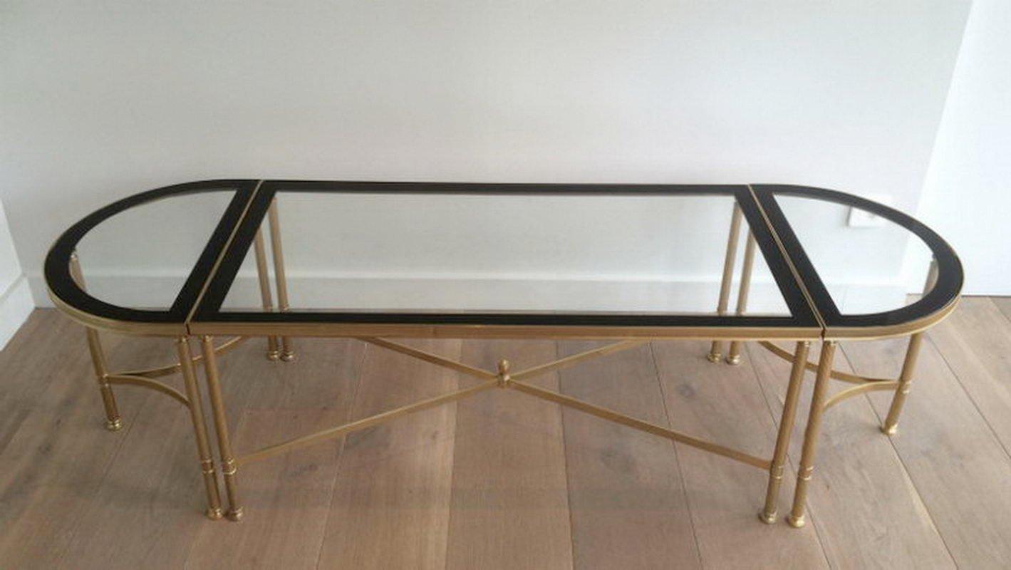 3-teiliger vergoldeter Metall Couchtisch mit Glasplatten und schwarz l...