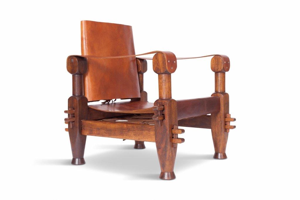 Brutalistischer Vintage Sessel aus cognacfarbenem Leder