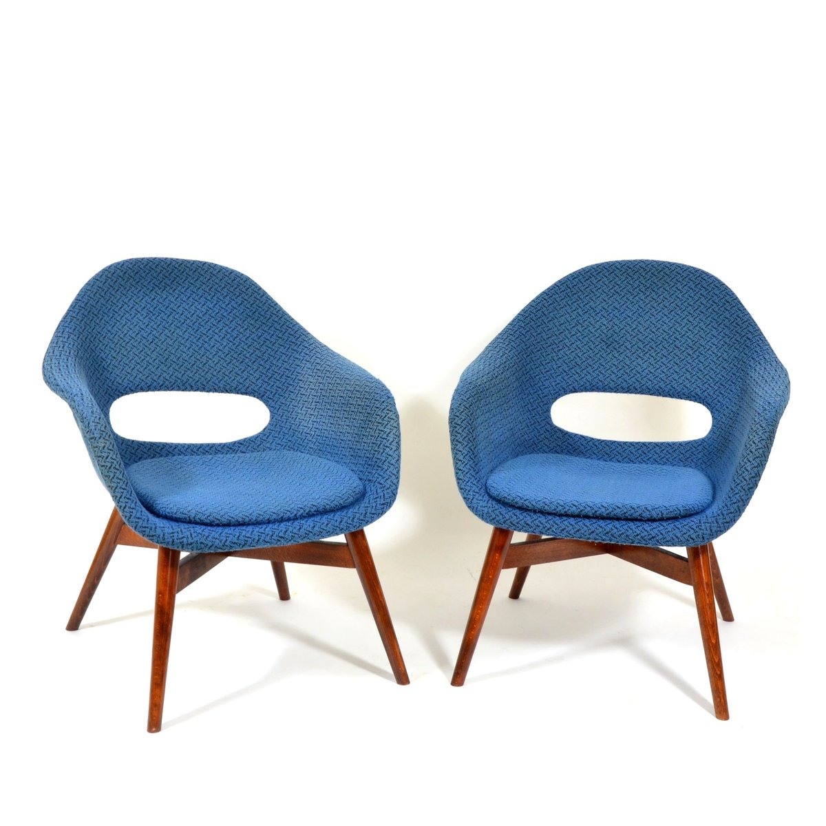 Blaue Armlehnstühle von Miroslav Navrátil, 1960er, 2er Set