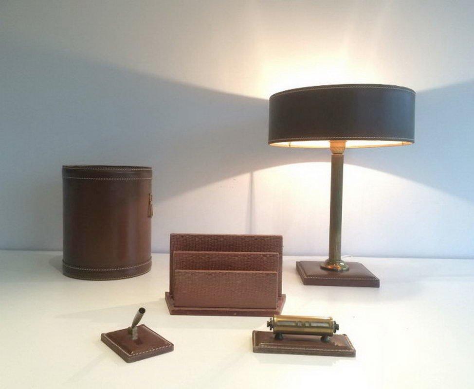 Lampe, Korb, Papierhalter, Terminplaner und Stifthalter aus Leder, 197...