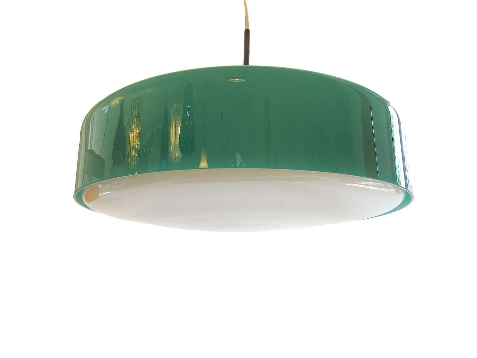 Grüne Glas Hängeleuchte von Vistosi, 1960er