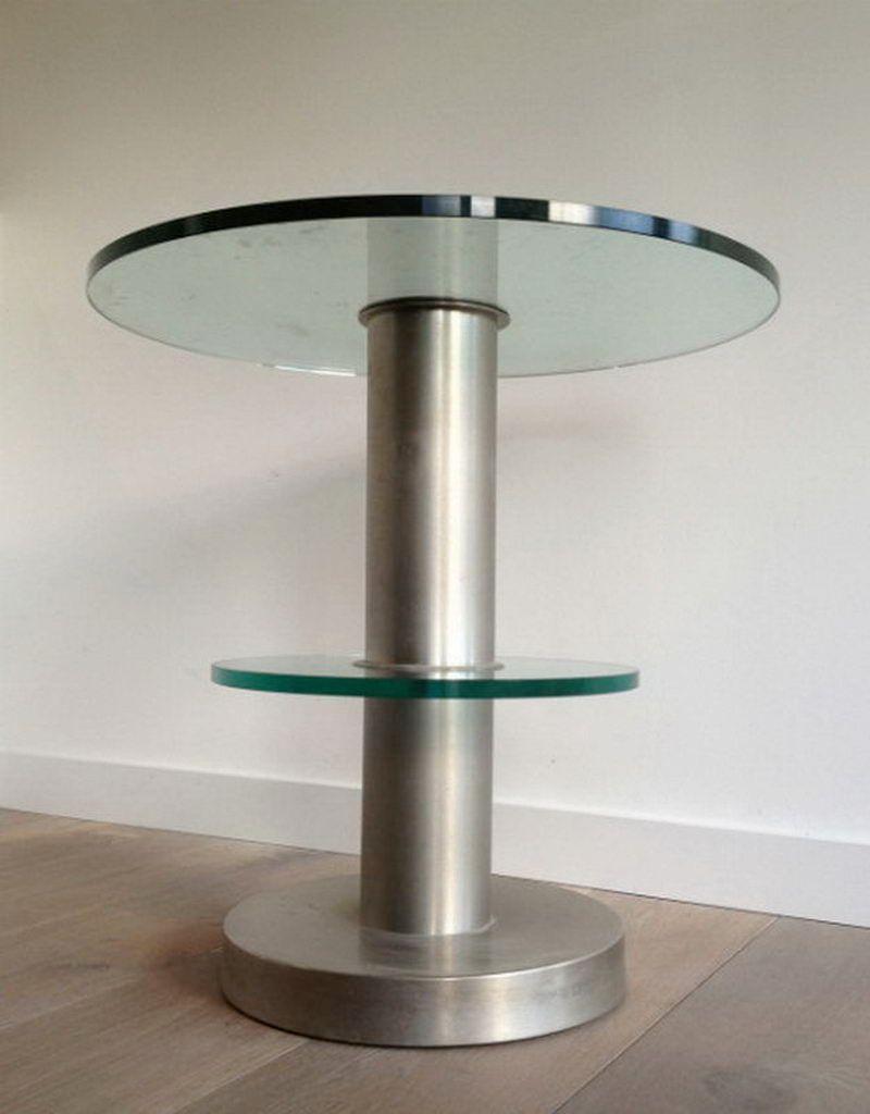 table d 39 appoint en verre et acier 1970s en vente sur pamono. Black Bedroom Furniture Sets. Home Design Ideas