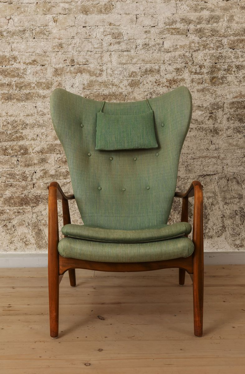 Mid Century Bentwood Lounge Chair In Green