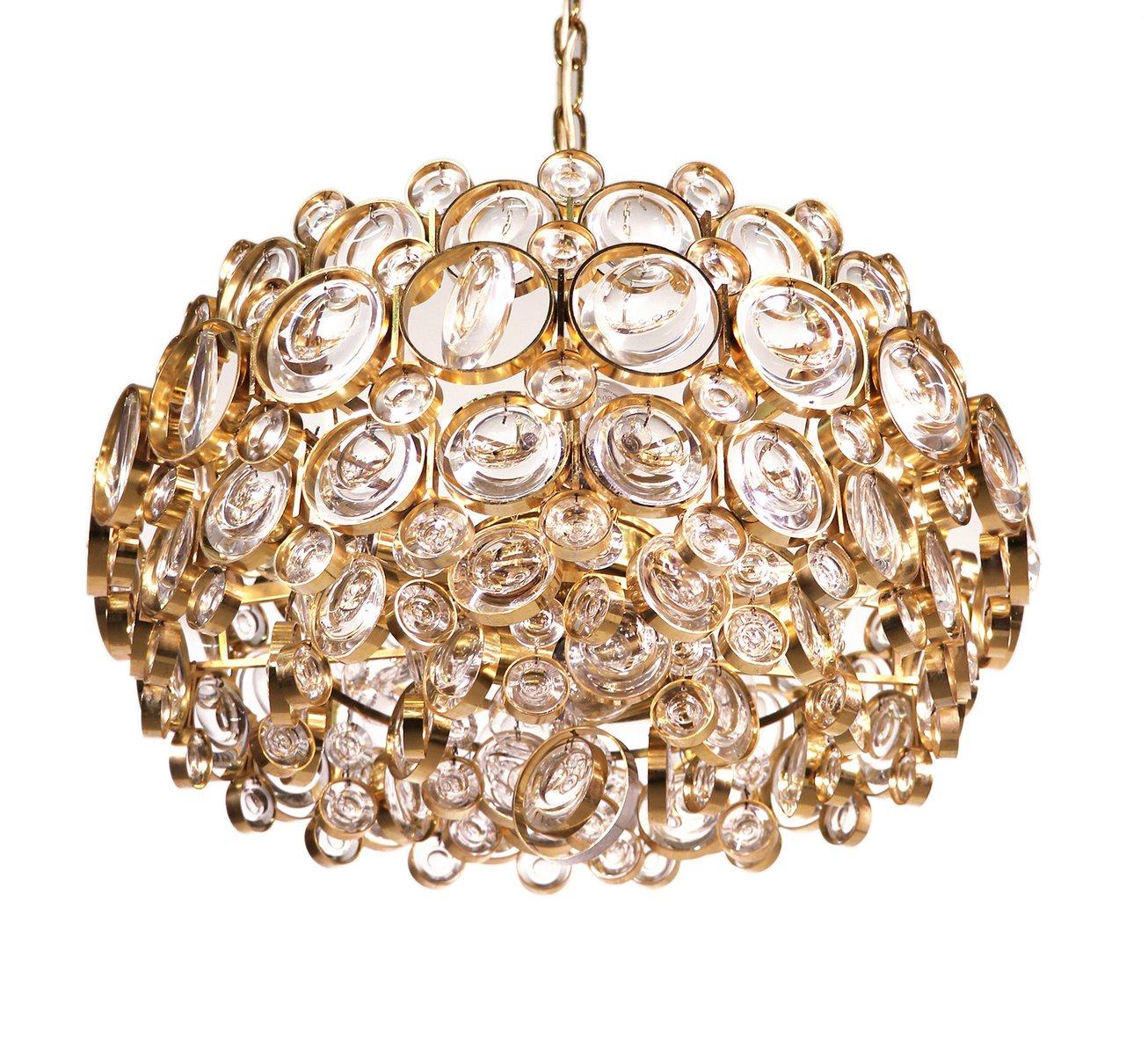 Vergoldeter Kristallglas Kronleuchter von Gaetano Sciolari für Palwa, ...