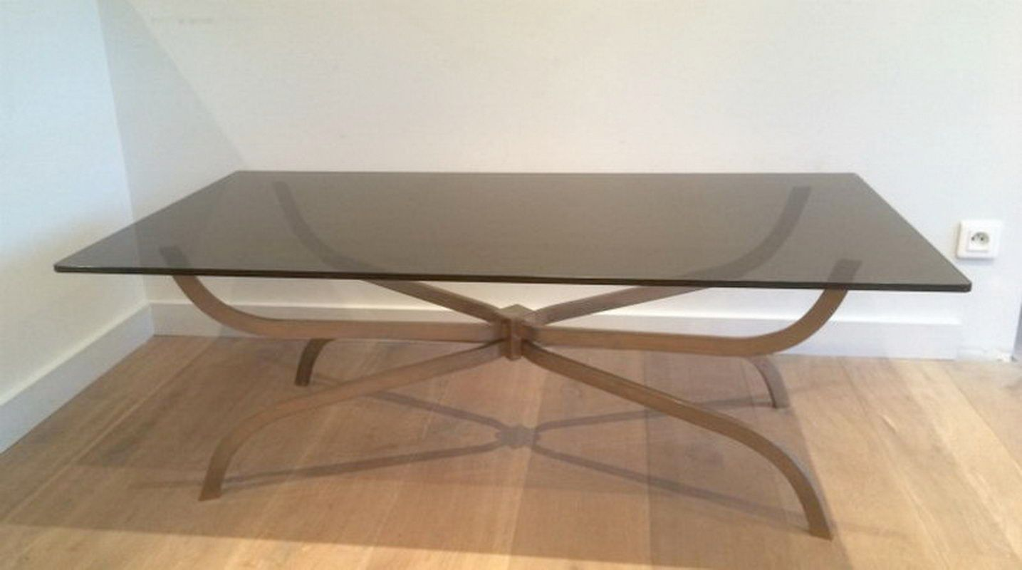 Brushed Steel Smoked Glass Coffee Table From Maison Charles 1960s