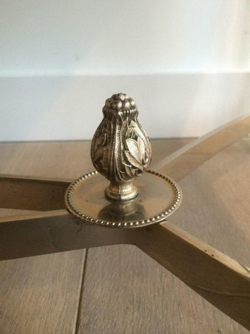 table basse argent e avec plateau en verre laqu noir 1940s en vente sur pamono. Black Bedroom Furniture Sets. Home Design Ideas