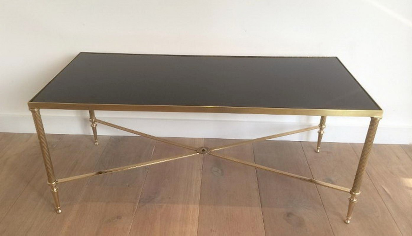 Charmant Brass U0026 Black Lacquered Coffee Table, 1940s