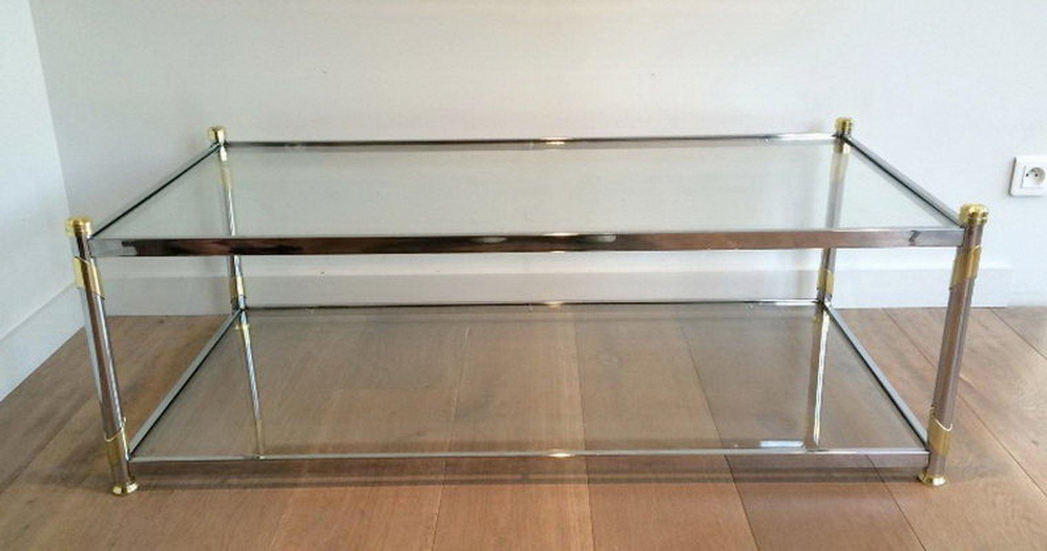 table basse vintage en chrome et m tal dor en vente sur pamono. Black Bedroom Furniture Sets. Home Design Ideas