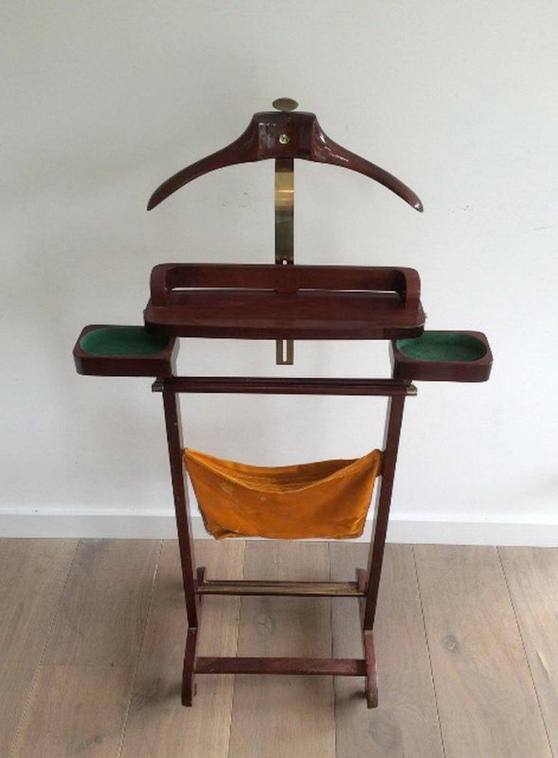 stummer diener aus holz messing 1960er bei pamono kaufen. Black Bedroom Furniture Sets. Home Design Ideas