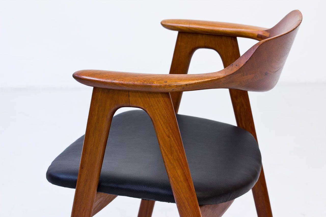 schreibtischstuhl aus teak leder von erik kierkegaard f r h ng stolefabrik 1950er bei pamono. Black Bedroom Furniture Sets. Home Design Ideas