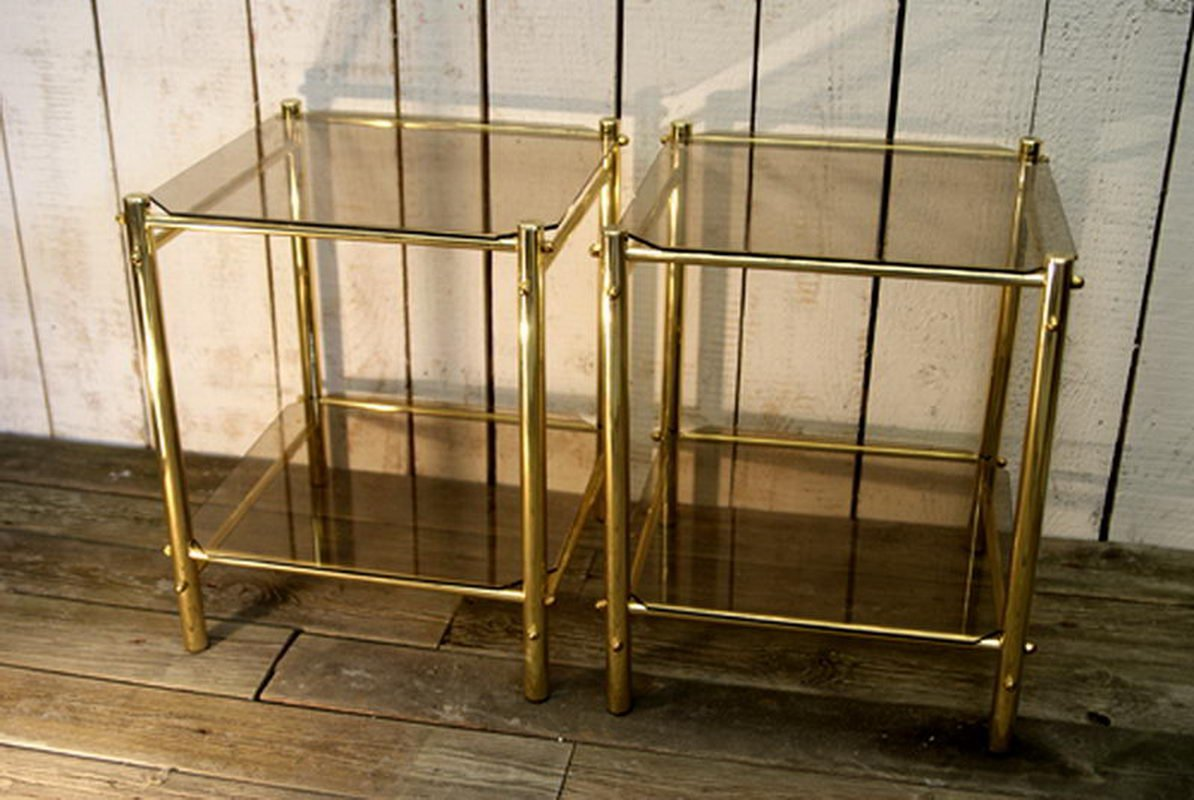 Mid-Century Glas & Metall Couchtische, 2er Set