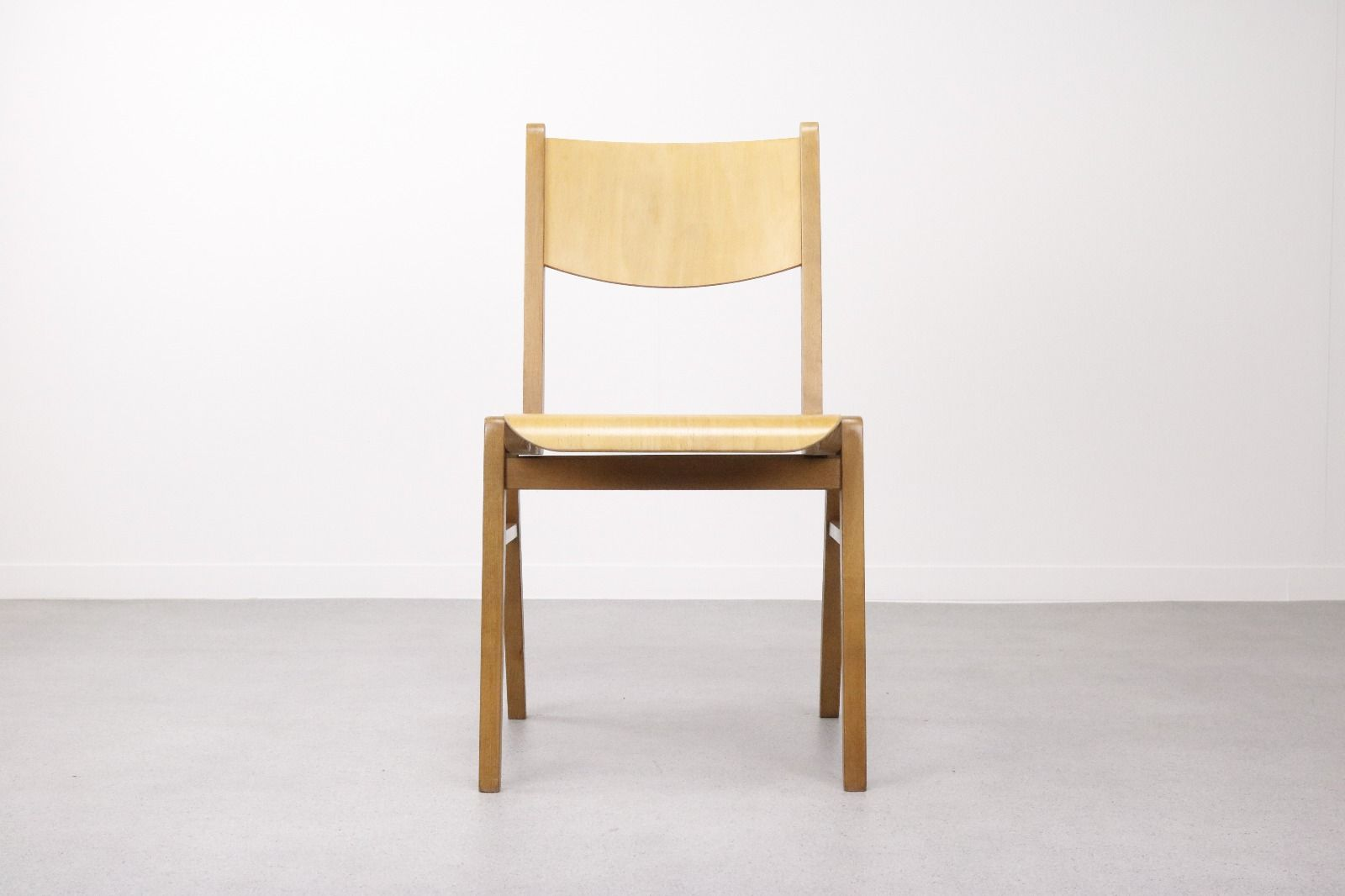 Mid Century Plywood And Birch Stacking Chairs 1960s Set Of 8