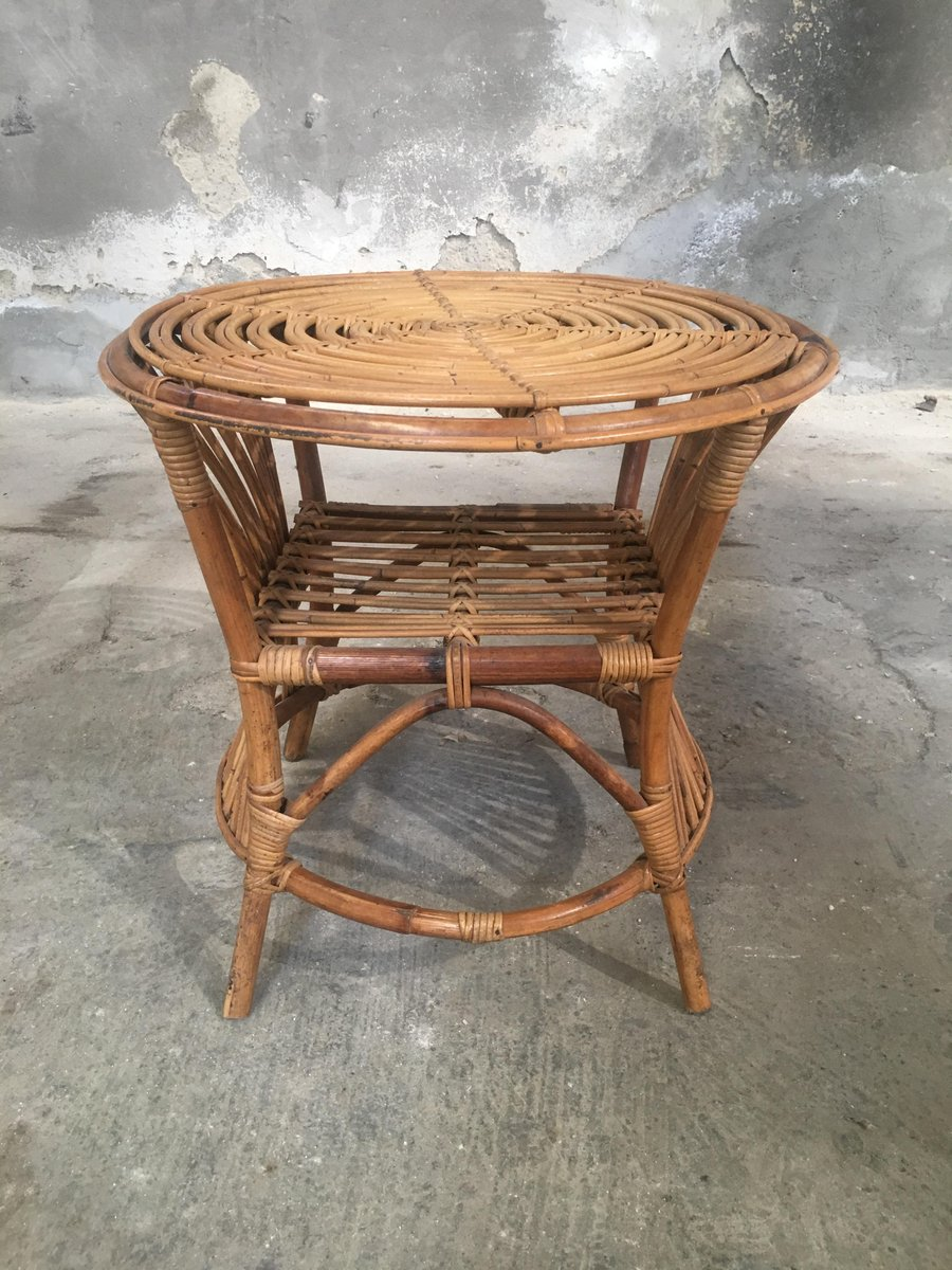 Italienischer bambus und rattan beistelltisch 1960er bei for Beistelltisch rattan