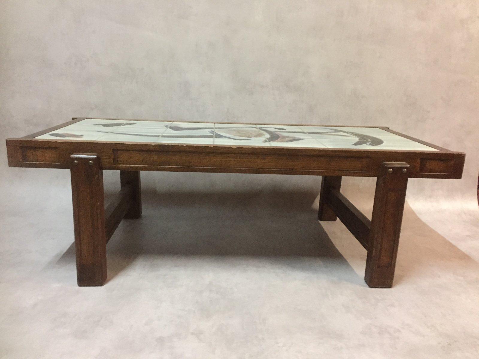 table basse vintage en c ramique et ch ne par juliette belarti en vente sur pamono. Black Bedroom Furniture Sets. Home Design Ideas