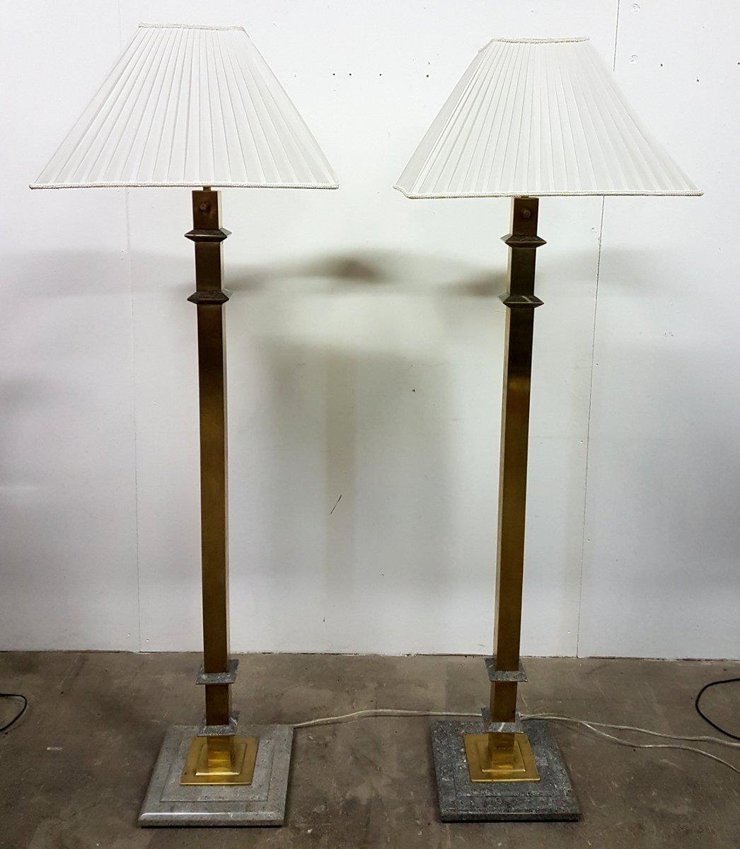 Messing und Marmor Stehlampen, 1970er, 2er Set