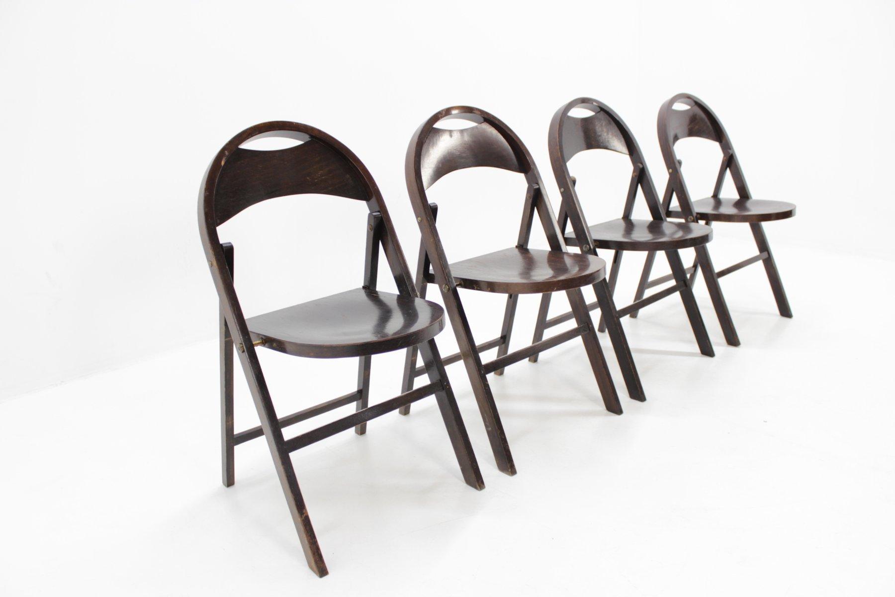 chaises pliables b 751 bauhaus de thonet 1930s set de 4 - Chaises Pliables