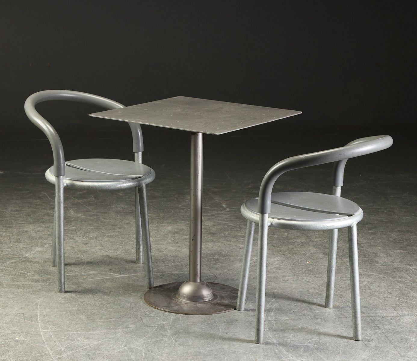 vintage metall tisch 2 st hle von niels gammelgaard lars mathiesen bei pamono kaufen. Black Bedroom Furniture Sets. Home Design Ideas