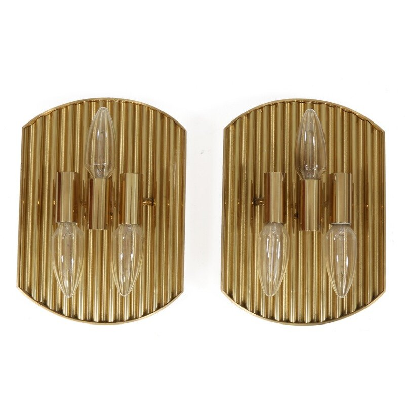 Dänische Vintage Messing Wandlampen, 2er Set