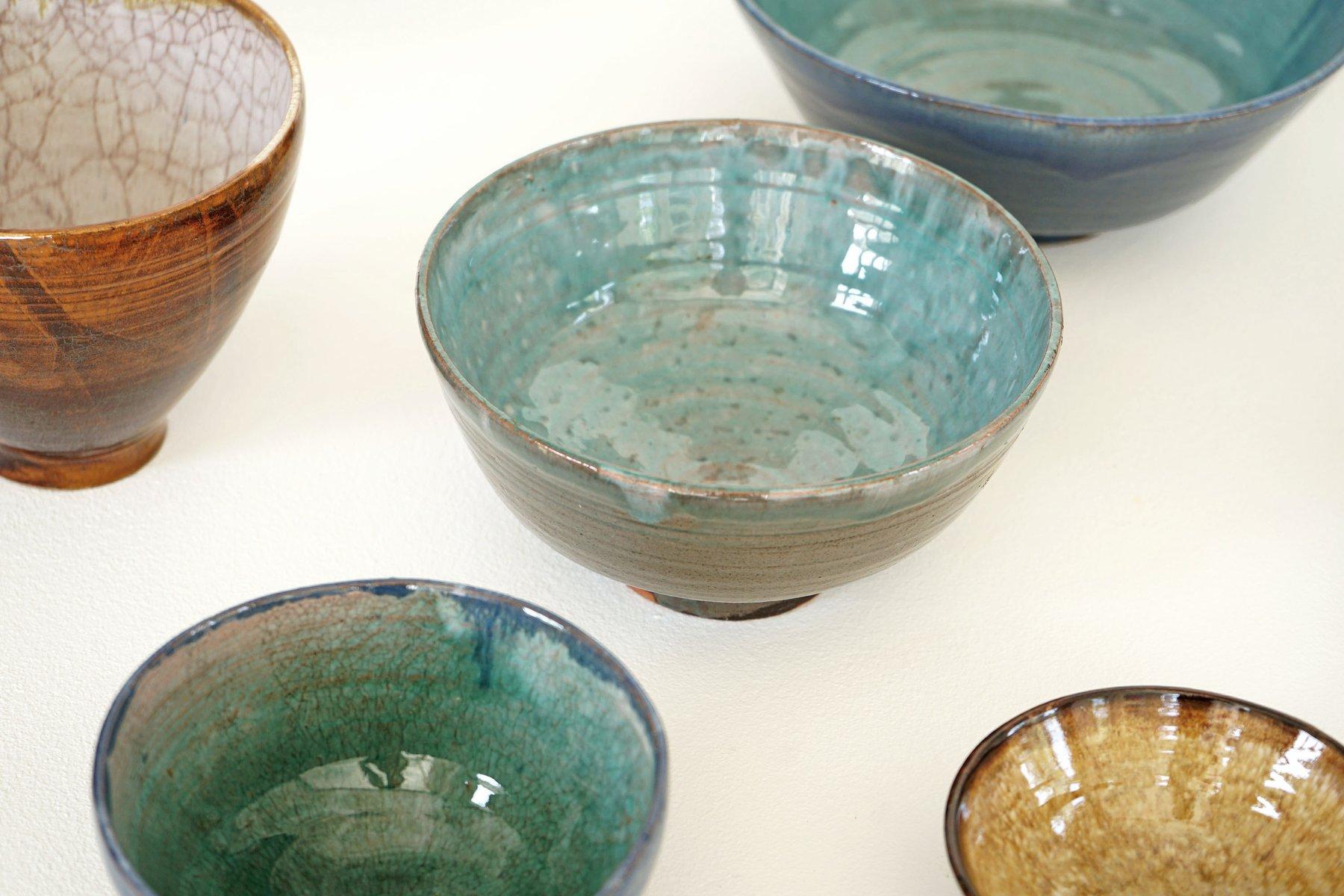handgefertigte keramik schalen 1970er 16er set bei pamono kaufen. Black Bedroom Furniture Sets. Home Design Ideas