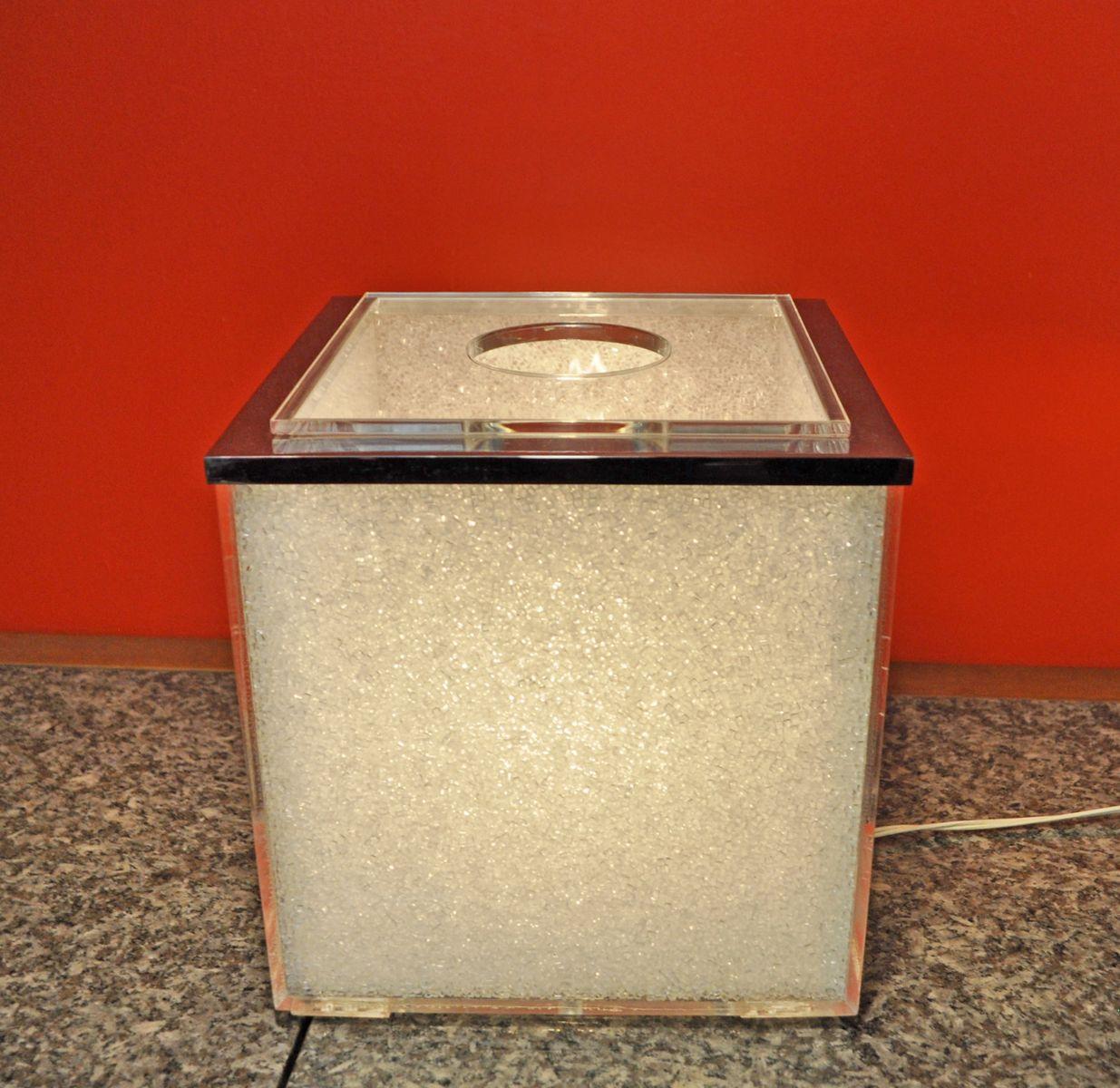 Würfelförmige Tischlampe, 1970er