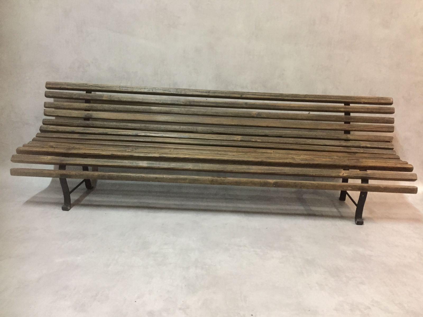 Antile Holz & Metall Gartenbank