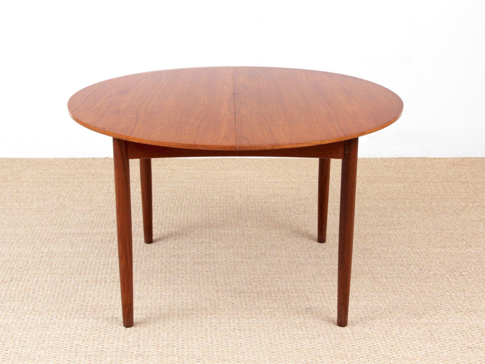 Mesa de comedor vintage circular de teca de Brande Møbelindustri en ...