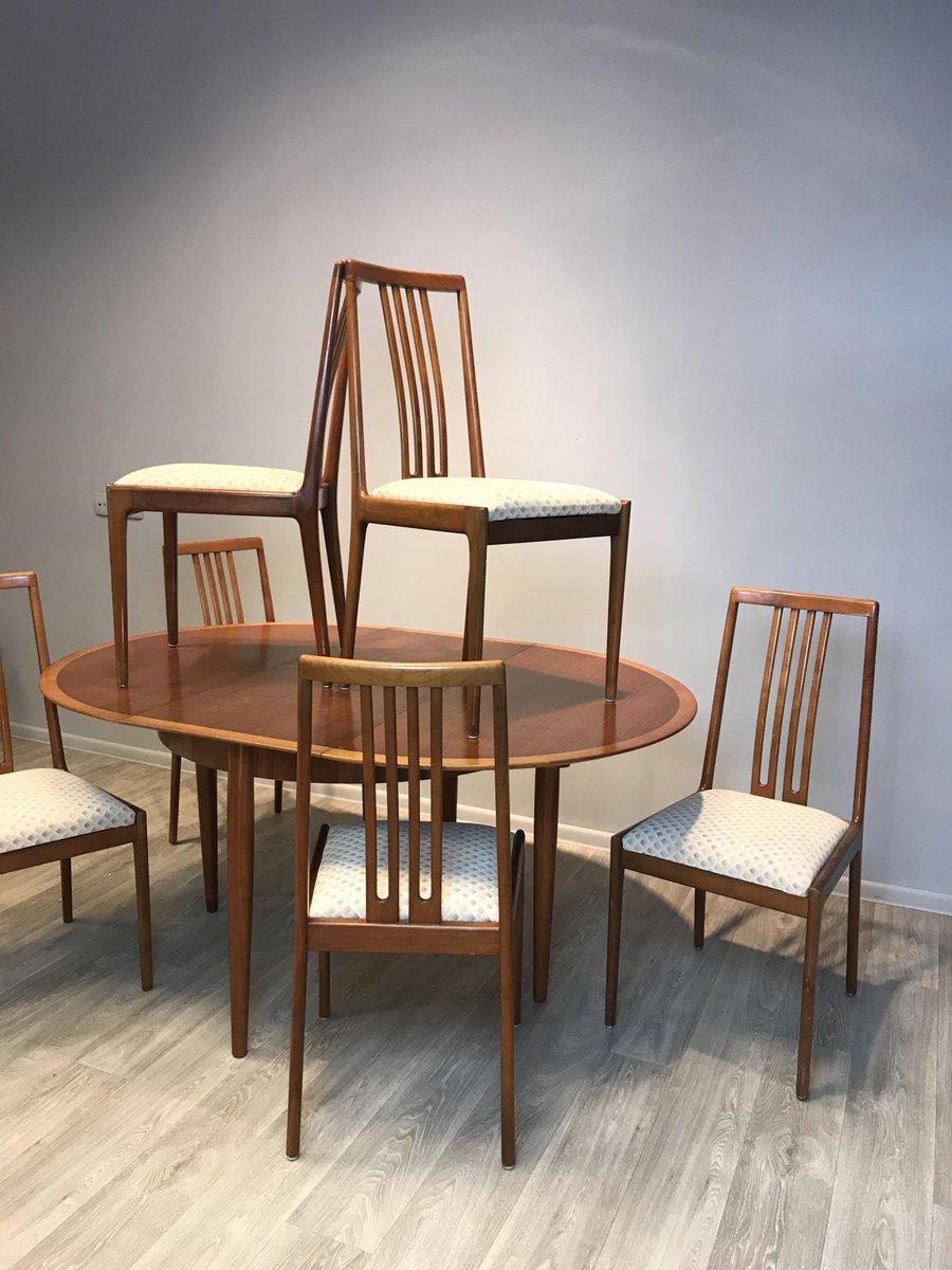 table ronde extensible avec 6 chaises de l bke 1960s en. Black Bedroom Furniture Sets. Home Design Ideas