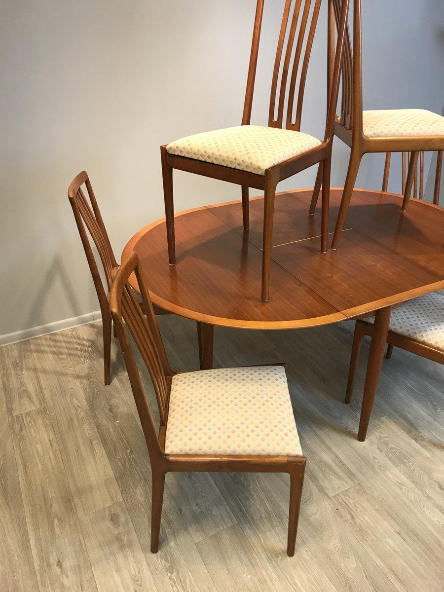 table ronde extensible avec 6 chaises de l bke 1960s en vente sur pamono. Black Bedroom Furniture Sets. Home Design Ideas
