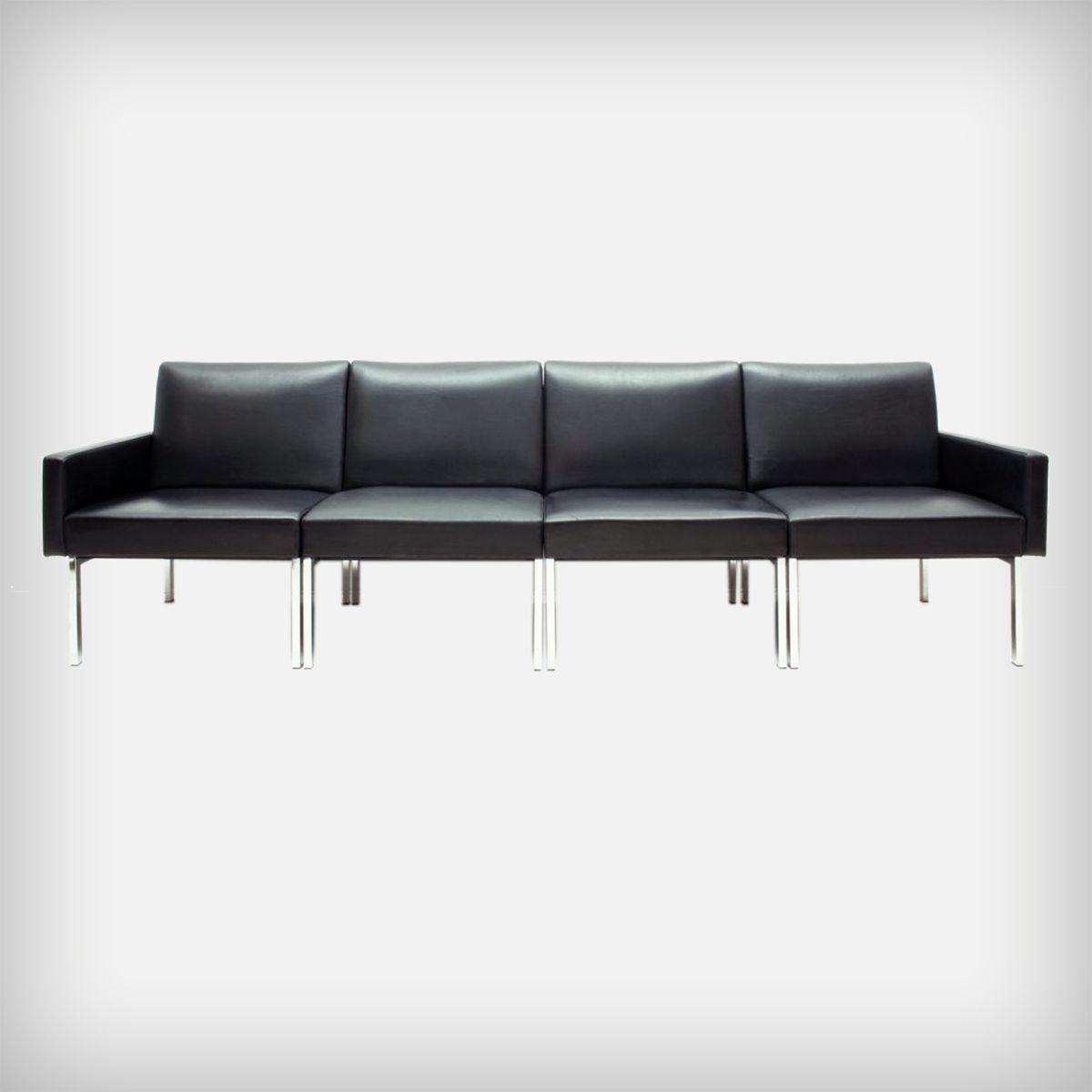 modulares sofa aus schwarzem leder chrom 1970er bei pamono kaufen. Black Bedroom Furniture Sets. Home Design Ideas