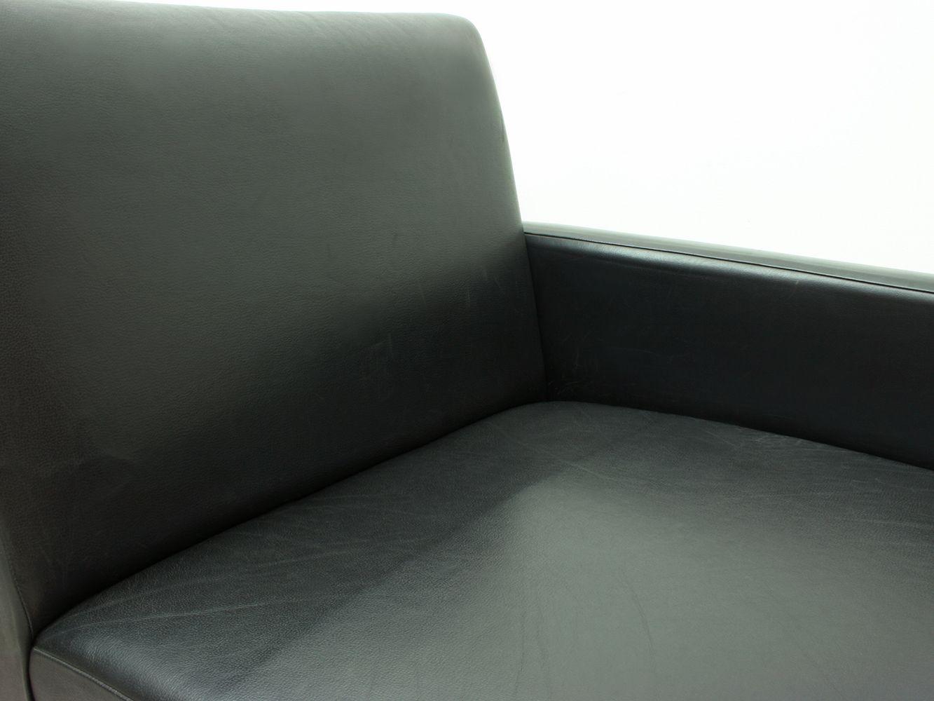 canap modulable en cuir noir chrome 1970s en vente sur pamono. Black Bedroom Furniture Sets. Home Design Ideas
