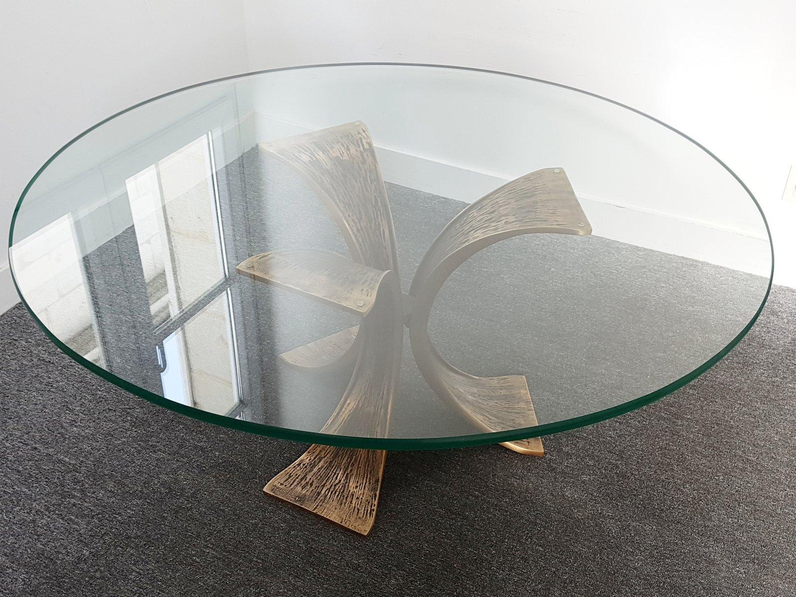 runder vintage bronze glas couchtisch 1970er bei pamono kaufen. Black Bedroom Furniture Sets. Home Design Ideas