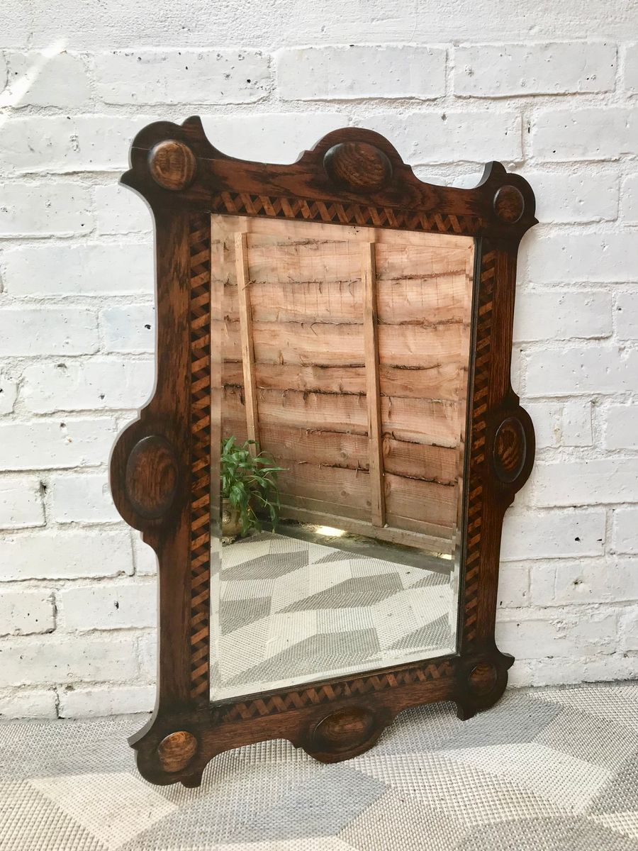 Antique Arts Amp Crafts Wooden Wall Mirror For Sale At Pamono