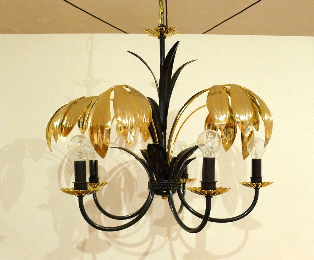 Kronleuchter Schirm Schwarz ~ 5 armiger kronleuchter mit metall palmenblättern in schwarz und gold