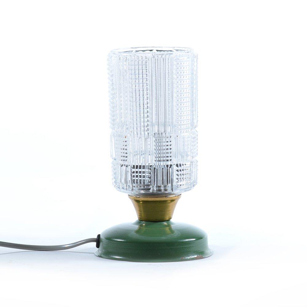 Tischlampe aus Pressglas und Metall, 1970er