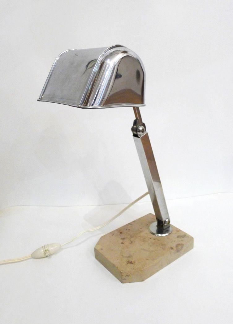 Tischlampe aus beigem Marmor und verchromten Metall, 1930er