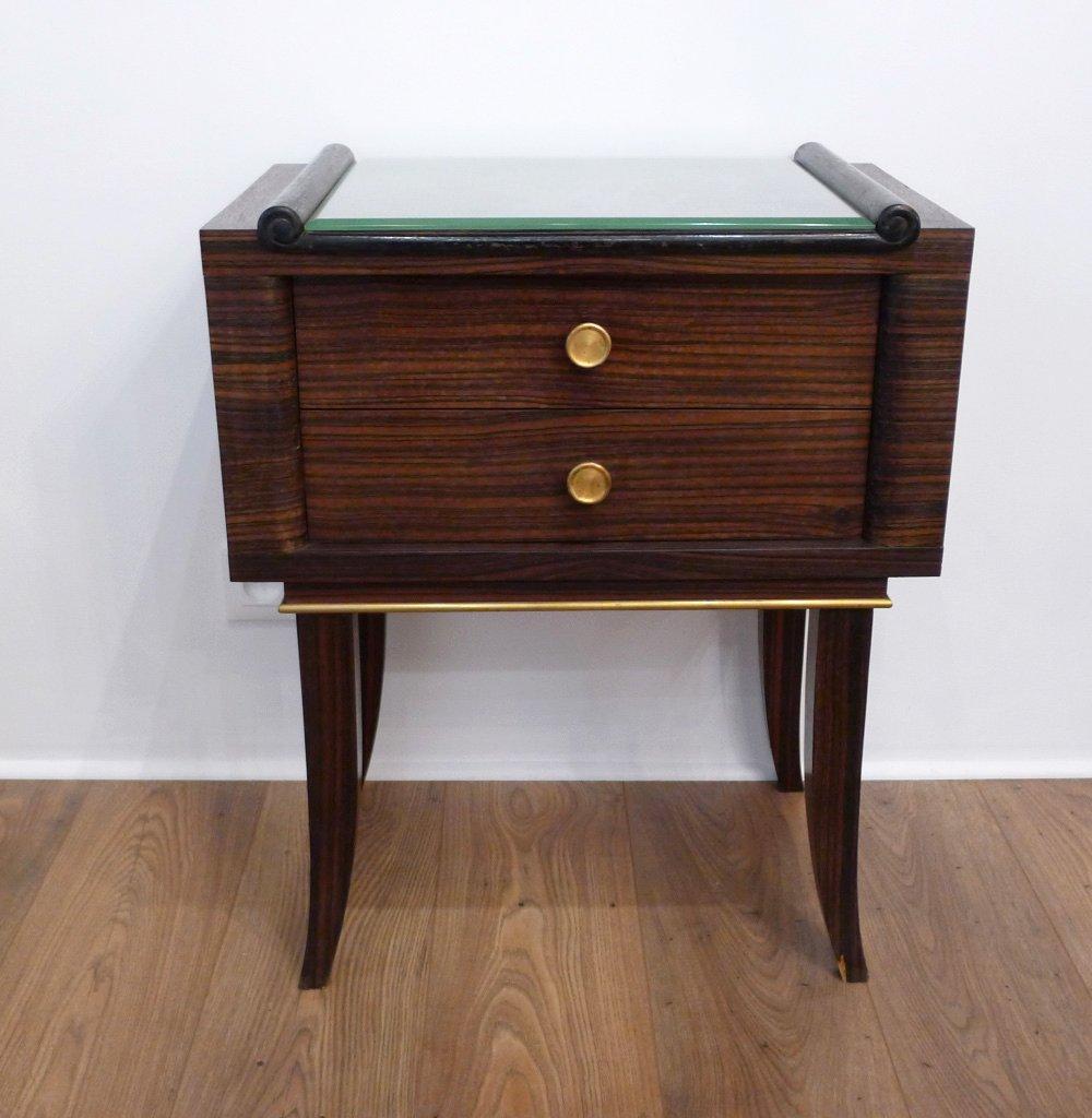 table de chevet en macassar plaqu avec 2 tiroirs verre biseaut 1930s en vente sur pamono. Black Bedroom Furniture Sets. Home Design Ideas