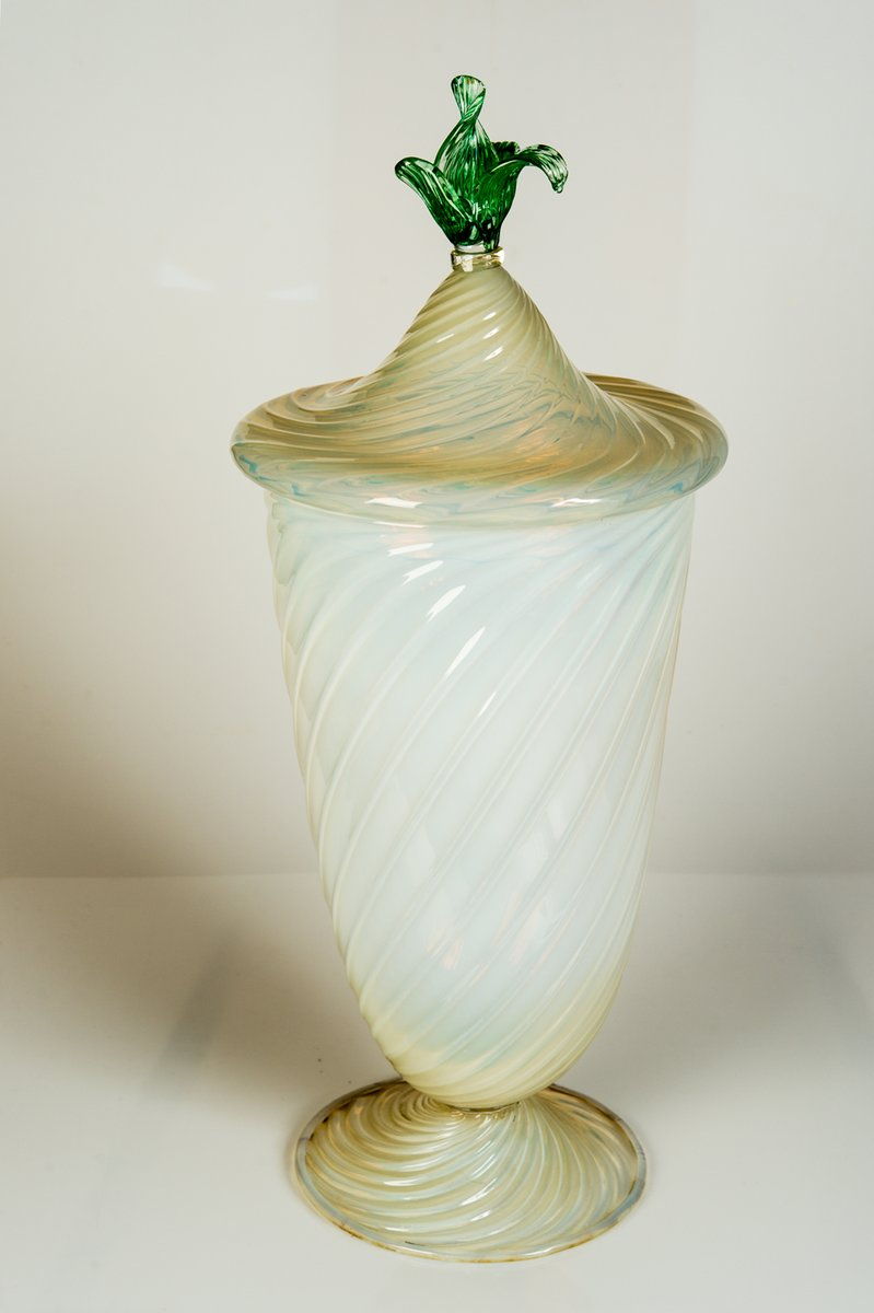Vintage Large Murano Glass Vase With Lid For Sale At Pamono