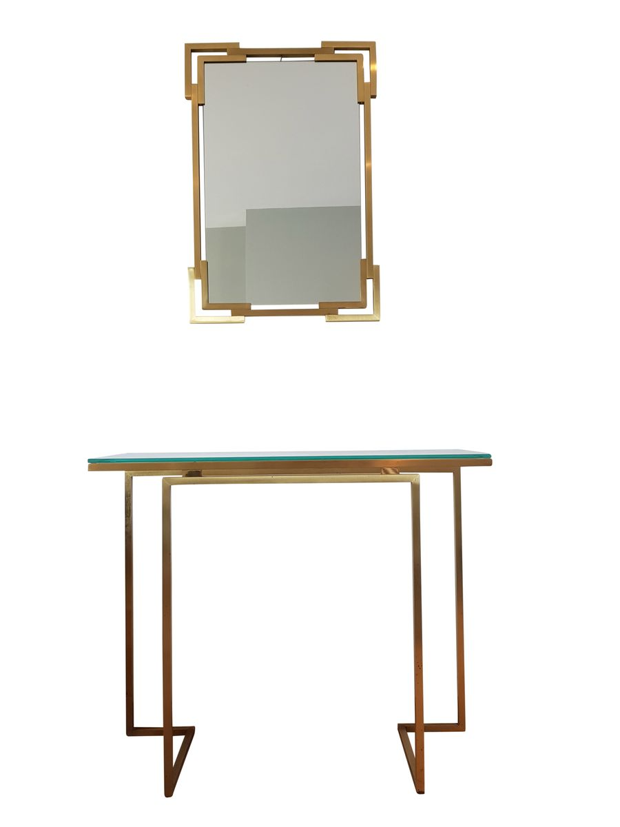 miroir et table console en laiton par guy lefevre pour maison jansen 1975 en vente sur pamono. Black Bedroom Furniture Sets. Home Design Ideas