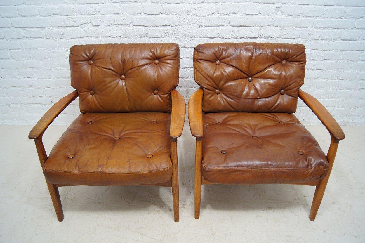 mid century teak leder sessel von eugen schmidt f r soloform 2er set bei pamono kaufen. Black Bedroom Furniture Sets. Home Design Ideas