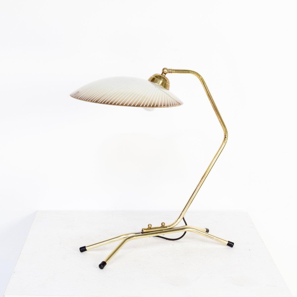 Messing Tischlampe mit Glasschirm, 1950er