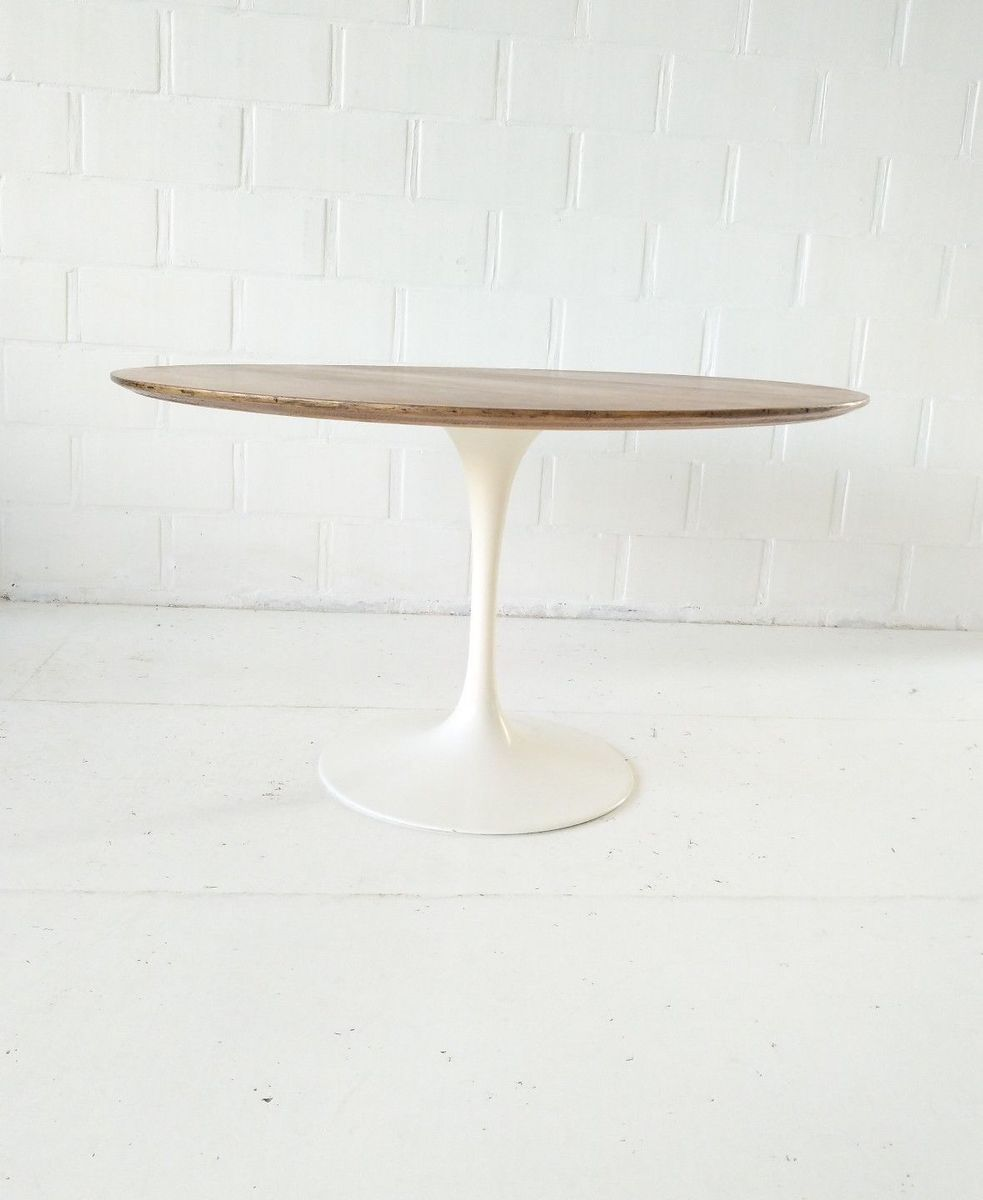 Round Tulip Side Table In Oak By Eero Saarinen For Knoll, 1970s