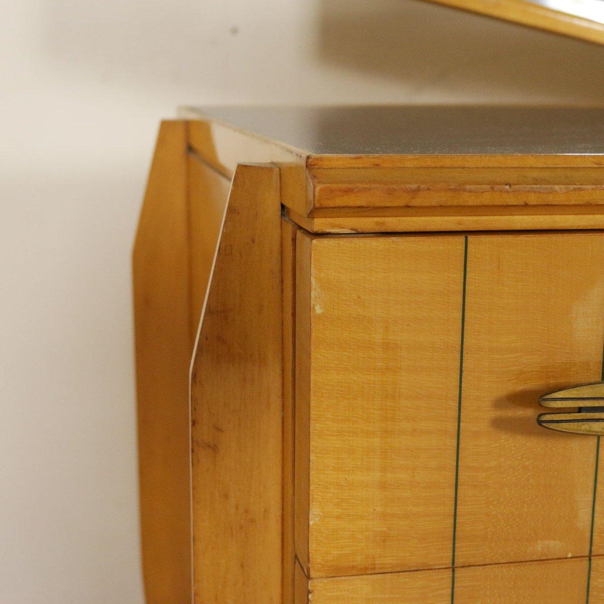 ahorn buche kommode mit spiegel 1950er bei pamono kaufen. Black Bedroom Furniture Sets. Home Design Ideas