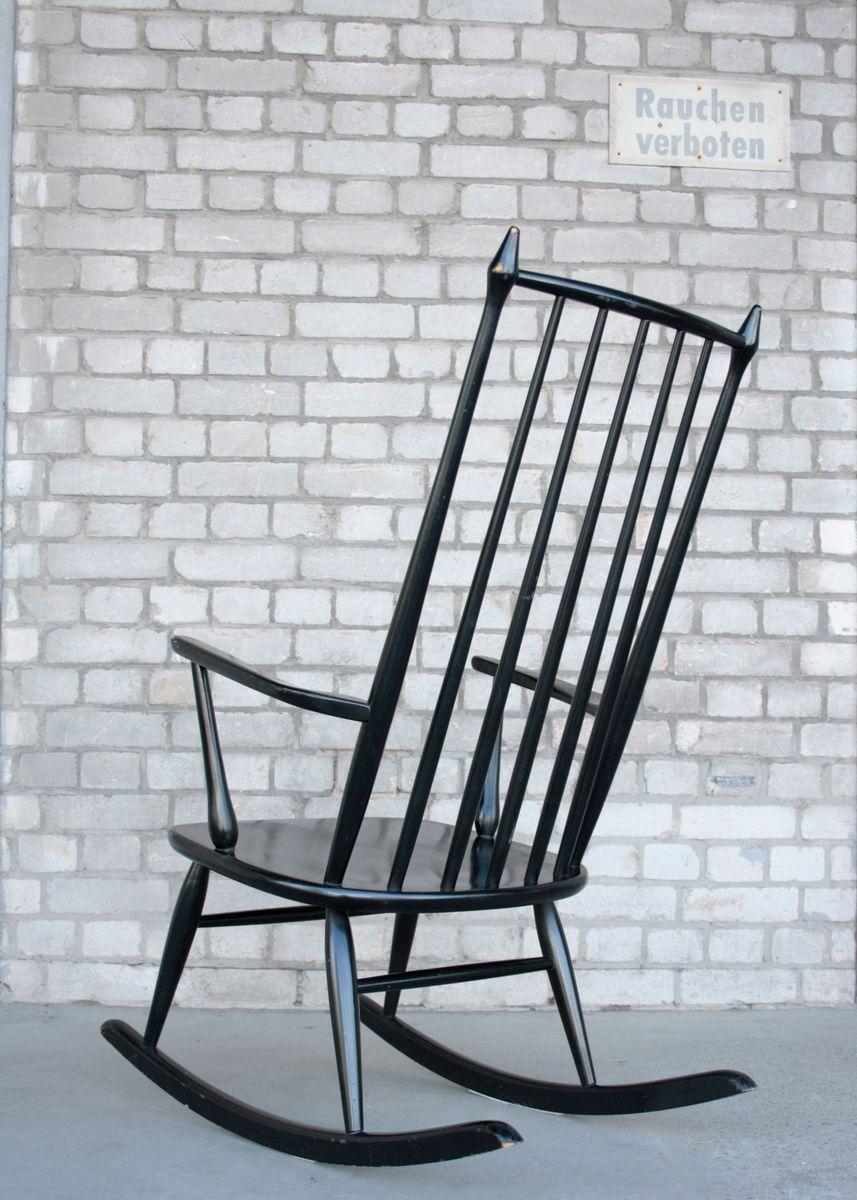 schwarz lackierter mid century schaukelstuhl aus holz 1960er bei pamono kaufen. Black Bedroom Furniture Sets. Home Design Ideas
