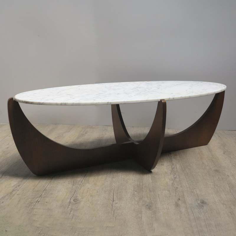 Ovaler Mid-Century Tisch mit Marmorplatte, 1950er