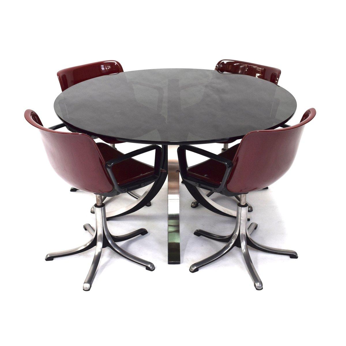 T69 Esstisch & Stühle von Osvaldo Borsani für Tecno Dining Set, 1964