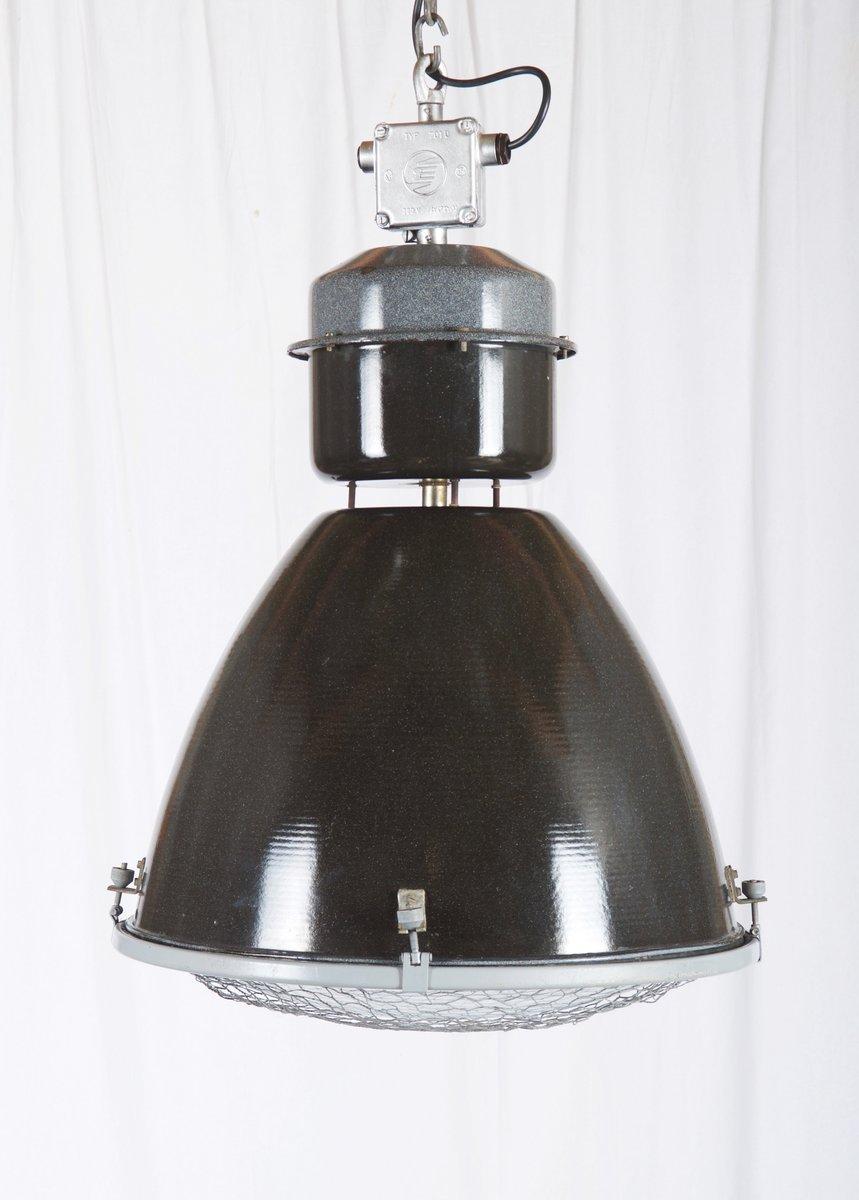 Große emaillierte Fabrik Hängeleuchte aus parabolischem Glas, 1950er