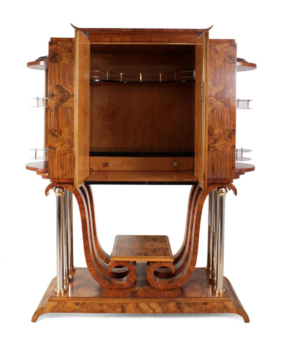 italienischer art deco walnuss barschrank bei pamono kaufen. Black Bedroom Furniture Sets. Home Design Ideas