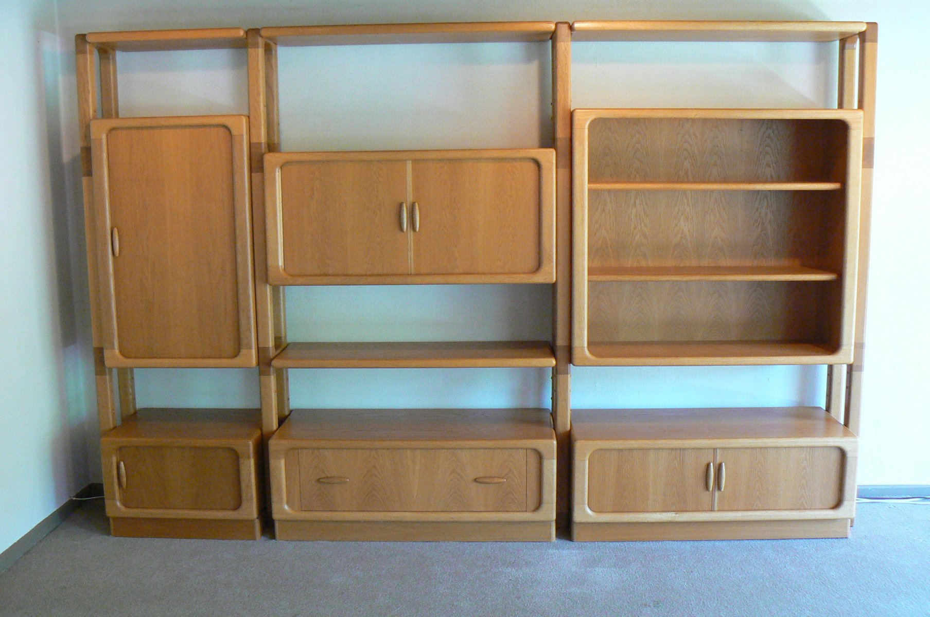 Large Oak Wall Unit With Sliding Doors From Dyrlund 1980s For Sale